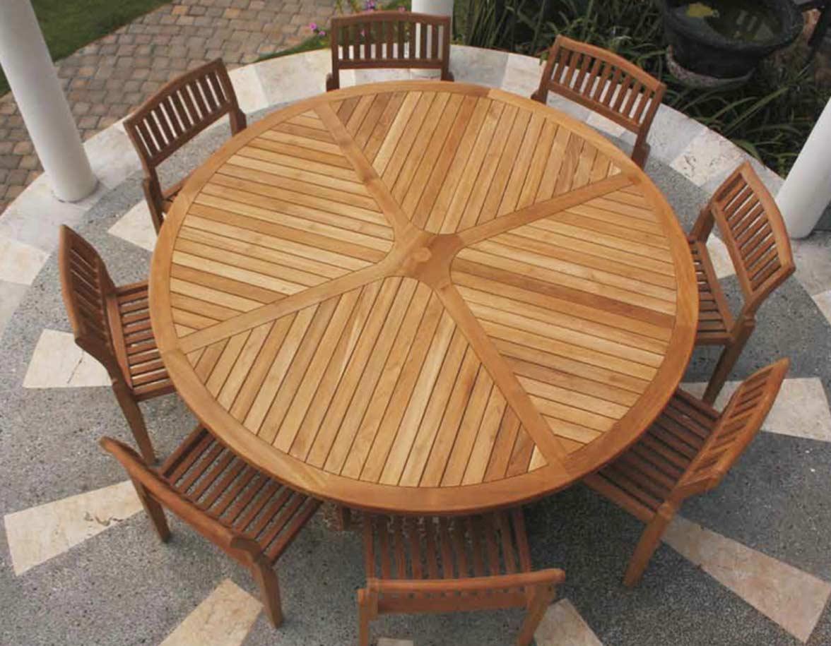 Tavolo teak h rotondo aero giardino esterno legno